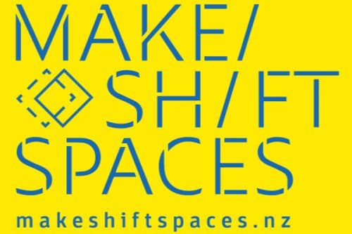 Makeshift Spaces Blue logo on yellow