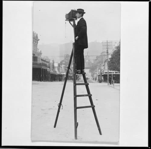 F N Jones on his ladder