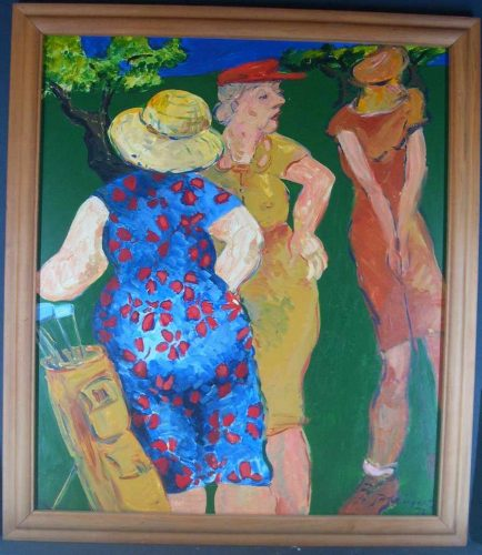 Ladies Day, painting by Jan Evans at the Suter Art Gallery Nelson