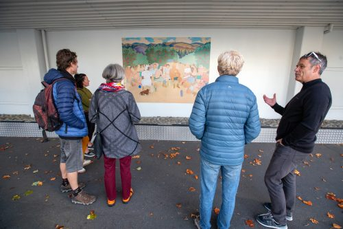 Picture by Tim Cuff 23 April 2021 - MakeShiftSpaces Artwalk dawn blessing and speeches at the Suter Gallery, Nelson, New Zealand