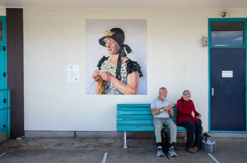 Picture by Tim Cuff 23 April 2021 - MakeShiftSpaces Artwalk, Margorie Naylor's 1941 oil Portrait of Mrs Perrine Moncrief, installed at Nelson Bus Station, Nelson, New Zealand