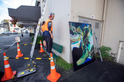 Picture by Tim Cuff 13 April 2021 - MakeShift Spaces Artwalk installations by Paul and Marika from Speedy Signs, Nelson, New Zealand: 'Lake Series 10, Rotoiti' by Brian Strong